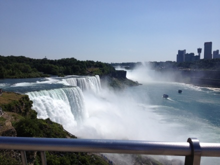 Here is a photo though that shows the boats out between the American and Canadian (Horseshoe) falls